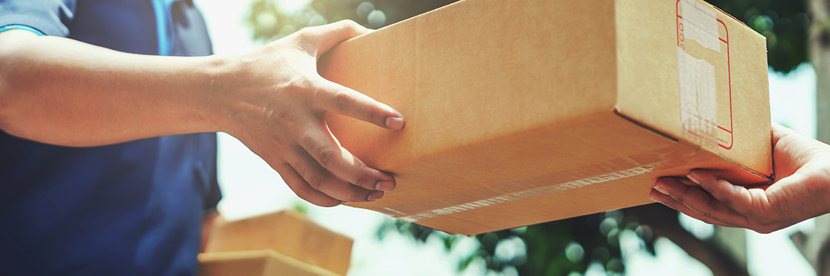Postbote überreicht Paket